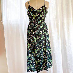 Rokoko by Dazz Black Floral Button-up Dress Sz M